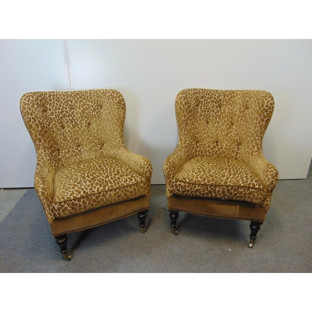 Hollywood Regency Style Leopard Velvet Lounge Chairs - a Pair For Sale In Philadelphia - Image 6 of 6