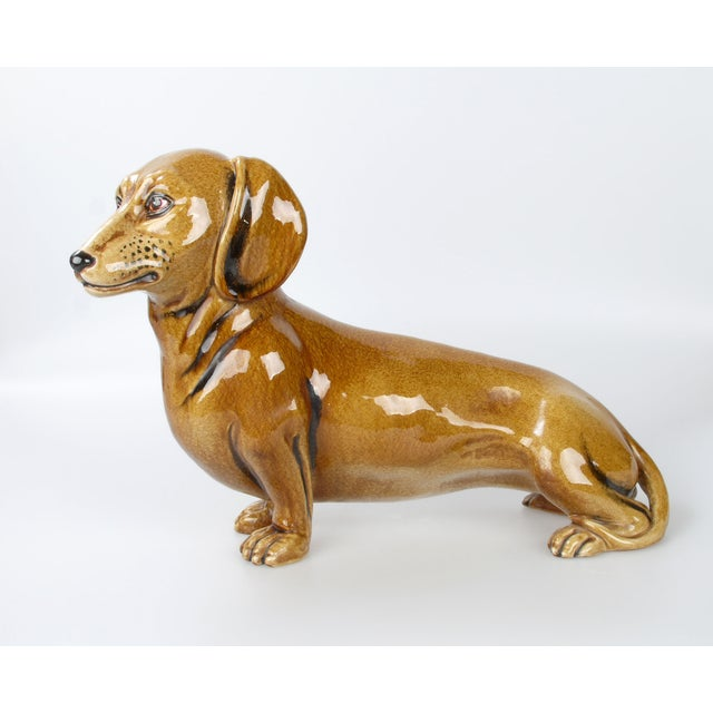 Italian Brown Glazed Ceramic Dog For Sale - Image 5 of 9