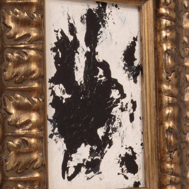 Abstract Original Abstract Black and White Painting With Ornate Frame Signed Stephen Hansrote For Sale - Image 3 of 6