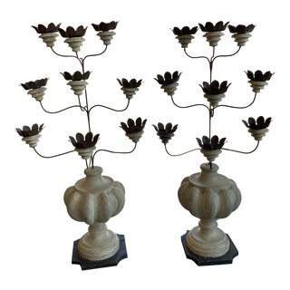 Italian Shabby Wood and Iron Candelabrums For Sale