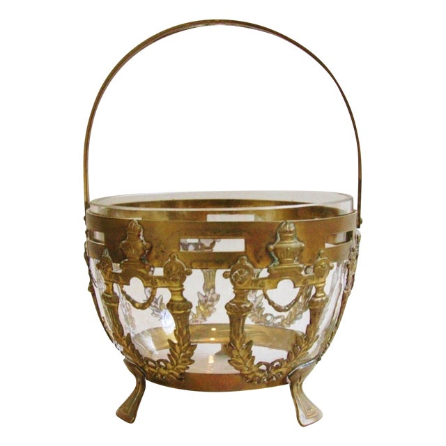 Antique Brass Filigree & Crystal Basket - Image 1 of 10