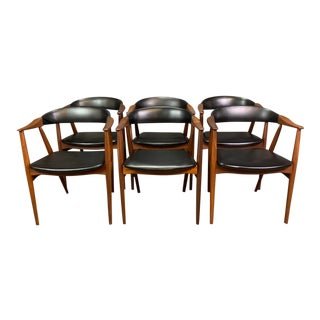Vintage Mid Century Danish Modern Afromasia Teak Dining Chairs- Set of 6 For Sale