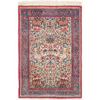 Small Scatter Size Antique Floral Persian Kerman Rug - 2′ × 2′11″ For Sale
