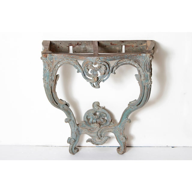 Blue Period Painted Louis XV Console With Shaped Marble Top For Sale - Image 8 of 13