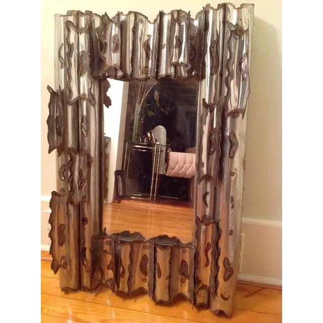 Tom Greene Vintage Brutalist Metal Wall Mirror - Image 2 of 9