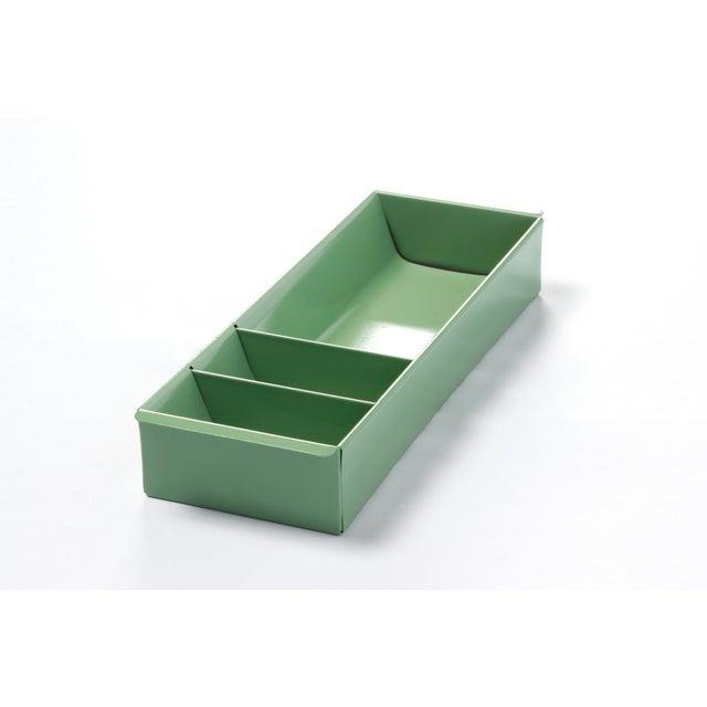 Green Steel Tanker Drawer Insert Repurposed as Desktop Organizer, Refinished in Sage Green For Sale - Image 8 of 8