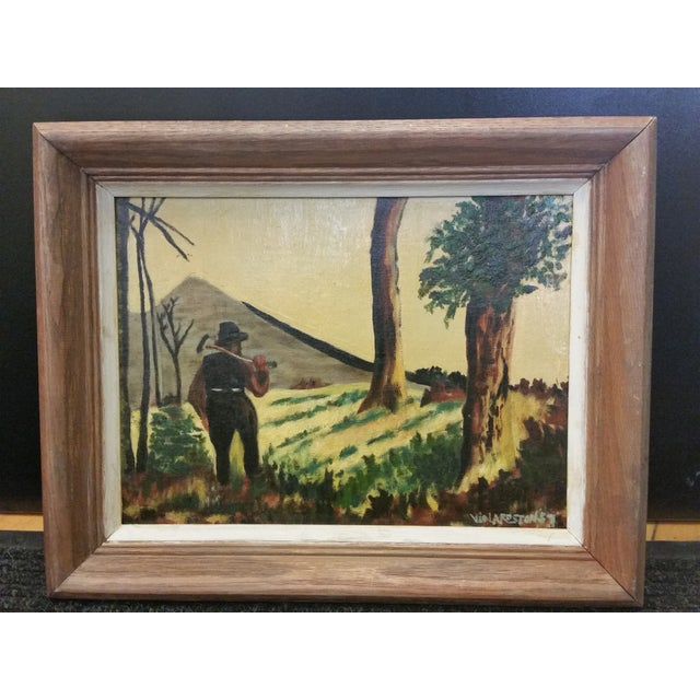 Here's a Mid-Century oil painting by self-taught artist Viola Roston (1897 - 1970). Roston was a prolific painter who...