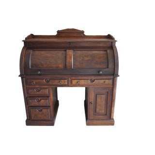 Early 20th Century Burled Cylinder Roll Top Desk