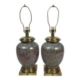 Colorful Frederick Cooper Pottery Table Lamps - a Pair