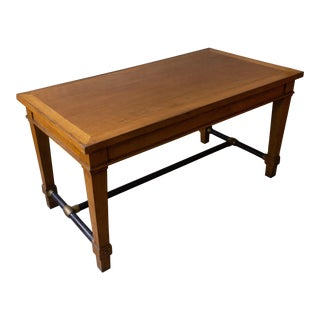 French 1940s Bank Table With Iron Stretcher For Sale