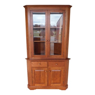 "Hunt Country Cherry Chippendale Traditional Style 2pc Corner China Cabinet ""B"" For Sale"