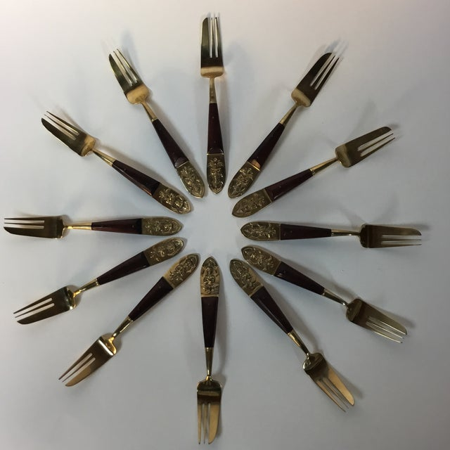 Mid-Century Brass & Rosewood Fish Forks and Spoons - 20 Pieces For Sale - Image 9 of 11