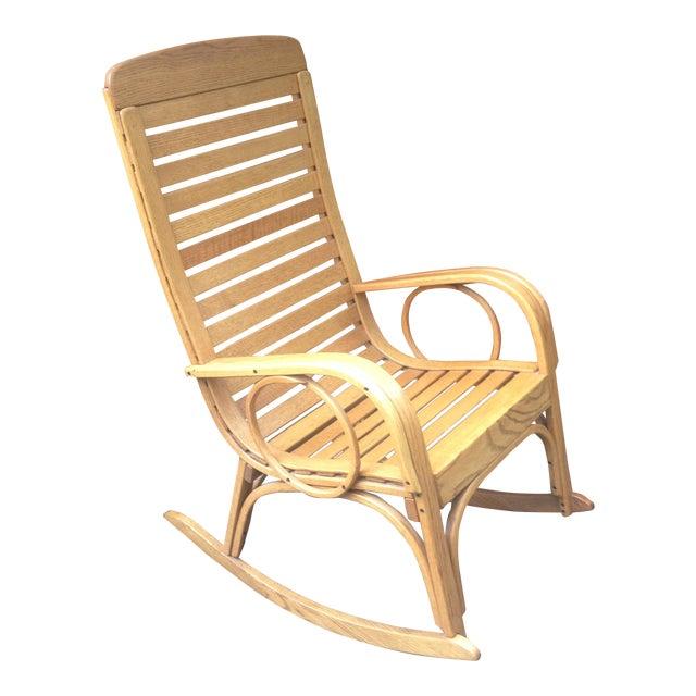 1990s Vintage R. Benna Bent Oak Slat Back Rocking Chair For Sale