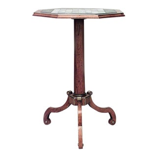 19th C. English Regency Marble Inlaid Satinwood Game Table For Sale
