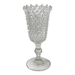 1930s Diamond Point Footed Vase For Sale