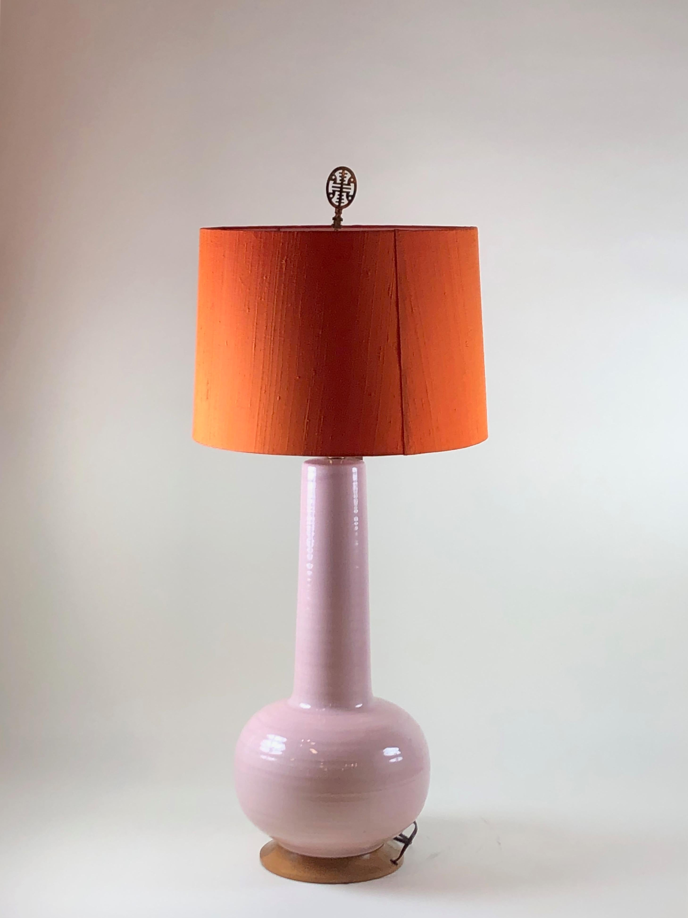 1950s Pink Ceramic Table Lamps With Orange Shades A Pair Chairish