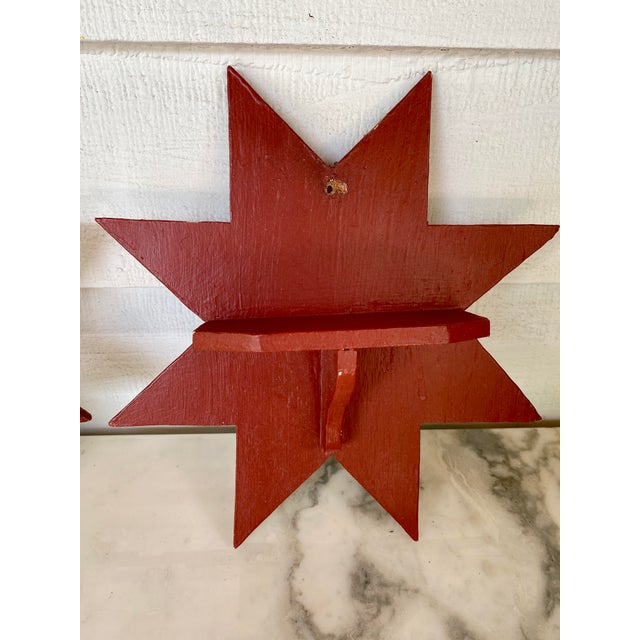 Very old, hand carved wooden stars wall brackets. Great for small objects display.