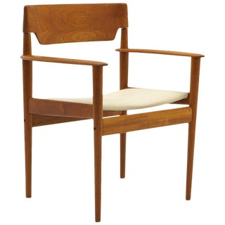 Grete Jalk Chair With Arms, Teak With New Leather Upholstery, Beautiful Form For Sale