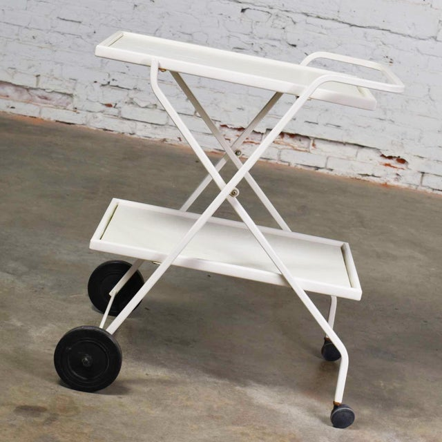Mid Century Modern Samsonite Tiered Patio Drink Cart of Fiberglass and Enameled Steel Tube in White For Sale - Image 6 of 13