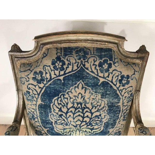 18th Century Louis XVI Bergere Chair With Fortuny Upholstery - Image 6 of 8