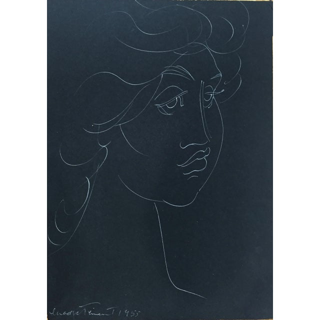 "1950s 1955 Madge Tennent ""Hawaiian Woman"" White Ink Drawing For Sale - Image 5 of 5"