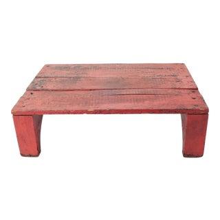 1940s Vintage Rustic Painted Wood Platform For Sale
