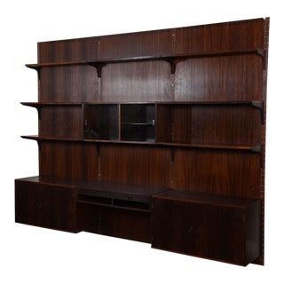 3-Column Danish Modern Rosewood Adjustable Wall Unit W/ Paneling For Sale