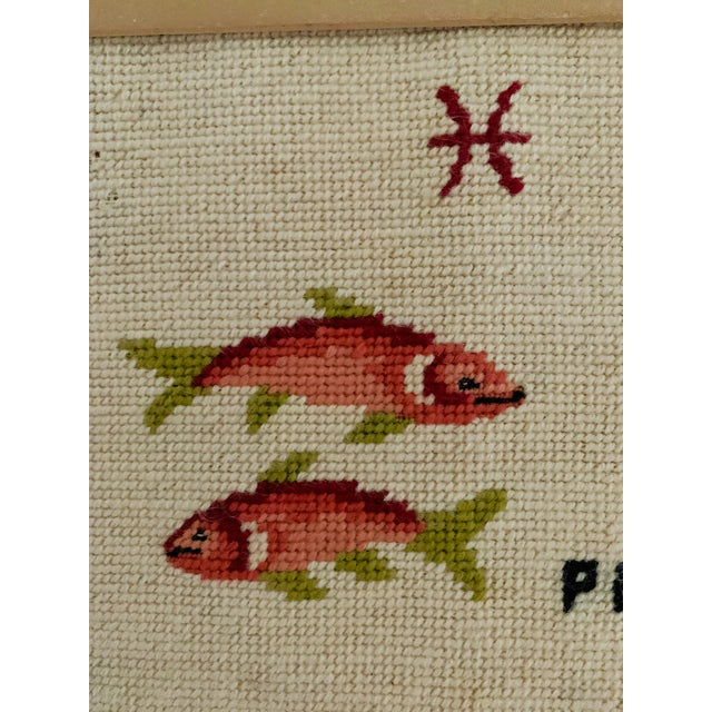 Chinoiserie Vintage Pisces Astrology Needlepoint With Gold Faux Bamboo Frame For Sale - Image 3 of 7