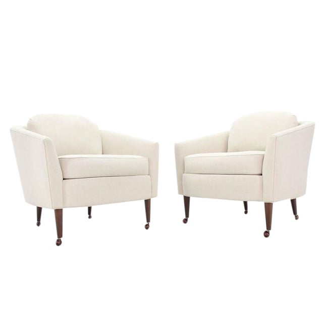 Pair of Newly Upholstered Mid-Century Modern Barrel Back Chairs For Sale