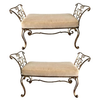 Jean Charles Moreux Gilt Iron Benches - a Pair