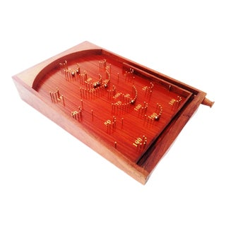 Vintage Bagatelle Traditional Wooden Crafted Tabletop Pinball Game For Sale