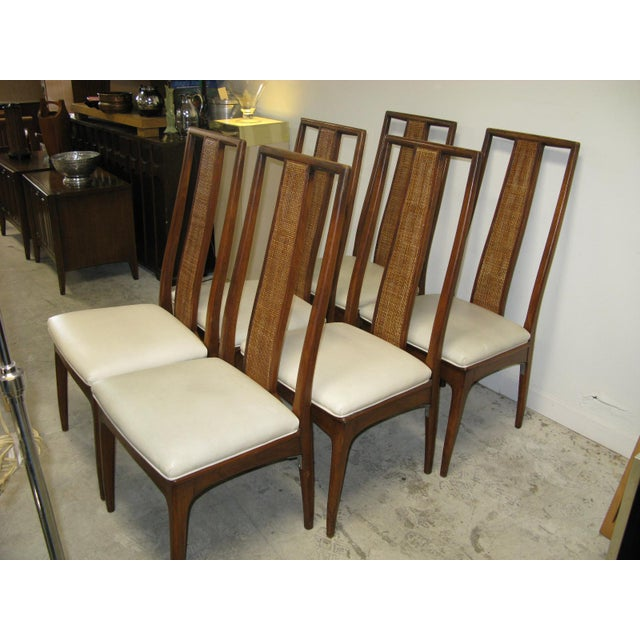 Sophisticated set of six Mid-Century Modern high back dining chairs, designed by John Stuart in the United States, circa...