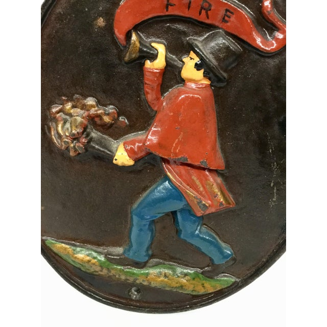 Industrial Vintage Wilton Heavy Cast Iron Fireman Fire Department Plaque For Sale - Image 3 of 9