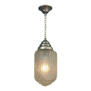 1920s French Art Deco Light, Pendant, Ceiling Fixture -- Very Special Shape and Dazzling Glass! For Sale