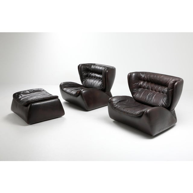 Postmodern Dark Brown 'Pasha' Lounge Chairs by Durlet - 1970's For Sale - Image 3 of 13