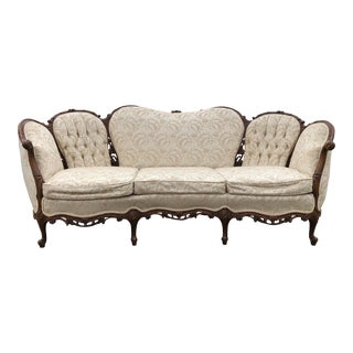 French Victorian Carved Mahogany Sofa For Sale
