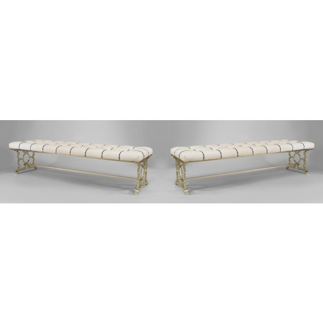 Art Deco French 1940s Style Silver Painted Iron Bench For Sale - Image 3 of 4