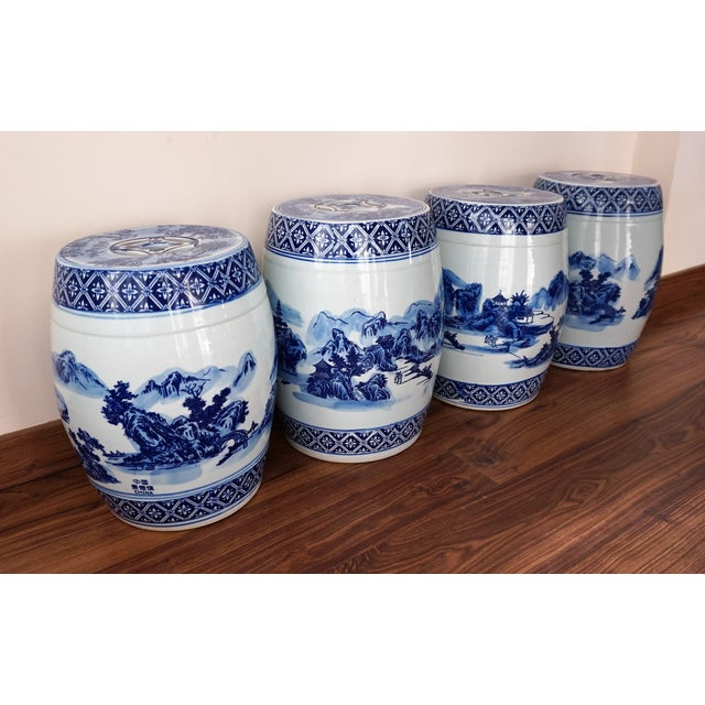 Ceramic Blue and White Floral Motif Chinese Porcelain Garden Seats & Table - Set of 5 For Sale - Image 7 of 14