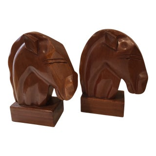 Mid-Century Wood Horse Bookends - a Pair For Sale