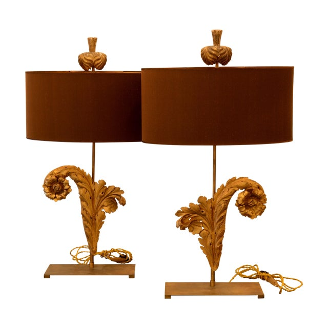 French Acanthus Leaf Lamps - A Pair - Image 3 of 5