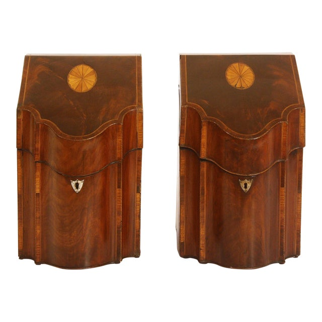 Pair of George III Mahogany Serpentine Inlaid Knife Boxes Circa 1780 For Sale