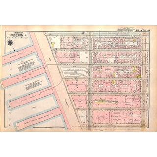 New York City Map, Chelsea Hudson River Piers, West 14th to 20th St. Between 11th - 7th Ave, 1927 (Pl. 41-42) For Sale