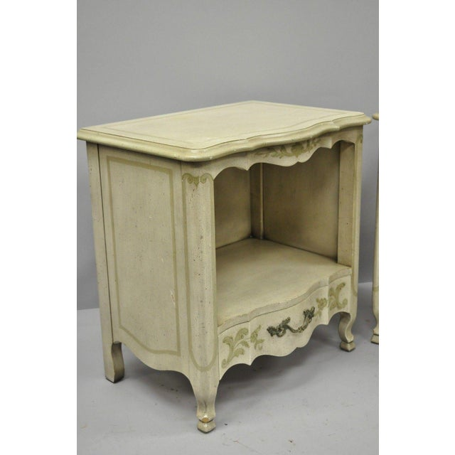 Wood John Widdicomb Country French Provincial Cream Paint Nightstands - a Pair For Sale - Image 7 of 13