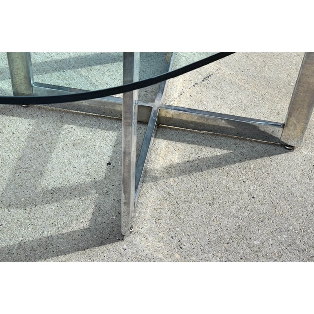 Chrome Vintage Chrome Dining Table With Glass Top For Sale - Image 7 of 8