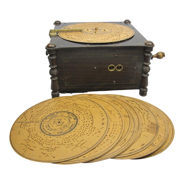Ariston Organette Music Box Player With Punched Paper Records For Sale