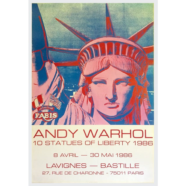 """Andy Warhol Rare 1986 Lithograph Print Paris Exhibition Poster """" 10 Statues of Liberty """" For Sale - Image 12 of 13"""