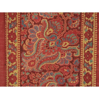 Antique French Curtain Provence Provencal Turkey Red W/ Printed Border C1815 For Sale
