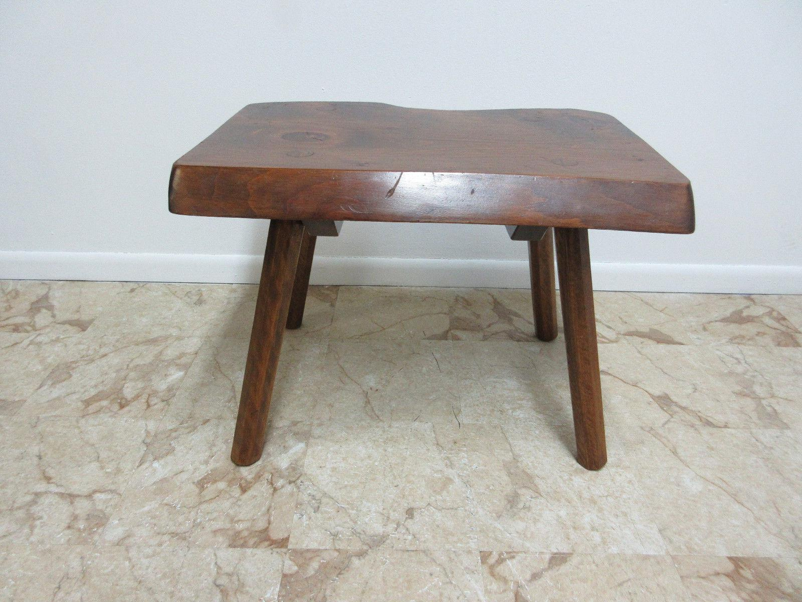 Mid Century Adirondack Free Form Slab Wood End Table