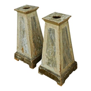 18th Century Italian Painted Wood Pedestals - a Pair For Sale