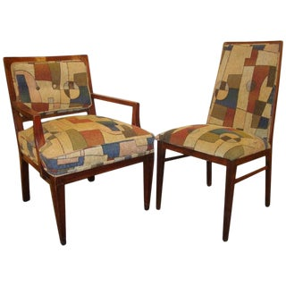 Set of Eight Mid-Century Modern Dining Chairs Having Geometric Upholstery For Sale